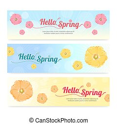 Set of colorful hello spring season banner
