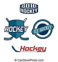 Set of colorful Hockey Team Labels, Badges and Design...