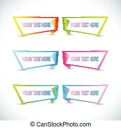 Set of colorful horizontal banners with place for your text. Modern design business presentation . Vector Illustration