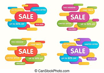 Set of colorful horizontal sale banners. Vector illustration.