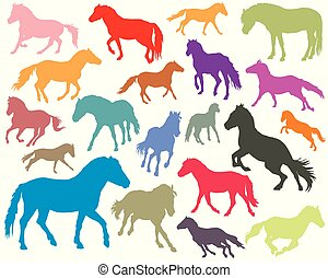 Set of colorful horses silhouettes-3