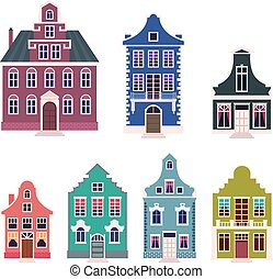 Set of colorful houses in the Dutch style cartoon vector illustration.eps