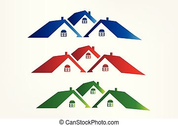 Set of colorful houses logo