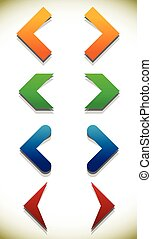 Set of colorful icons with arrows, arrowheads. editable vector.