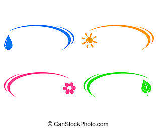 sun, water drop, leaf and flower - set of colorful icons...