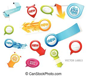 Set of colorful labels, badges, speech bubbles, pointing arrows on white background.