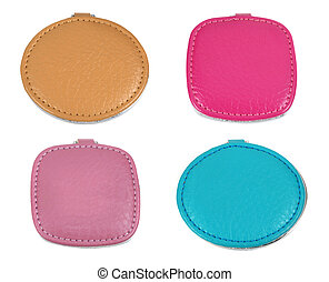 set of colorful leather cases