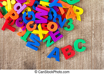 Set of colorful letters and numbers