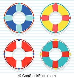 Set Of Colorful Lifebuoy.