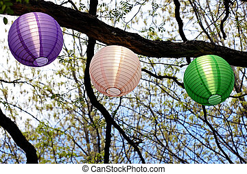 set of colorful light shades