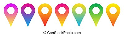 Set of colorful location icons. Vector icon.