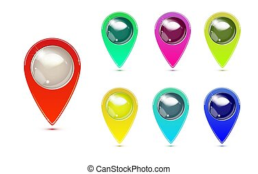 Set of Colorful Map Markers. GPS location symbol. pointer minimal vector symbol, marker sign.