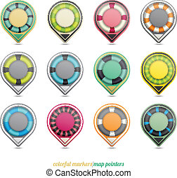 map pointers - set of colorful map pointers isolated on...
