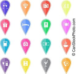 Set of colorful map pointers with hotel services icons. Vector illustration