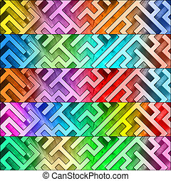 Set of colorful maze headers. High resolution 3D image