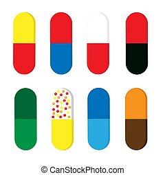 medical capsul - Set of colorful medical capsules - vitamin...