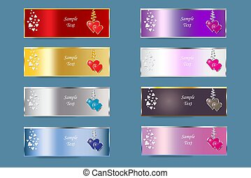 Set of colorful metal banners of Valentine's Day