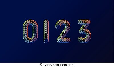 Set of colorful modern abstract numbers creative design vector illustration. 0 1 2 3 Rainbow Neon spring digits isolated on dark purple background.