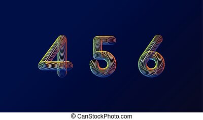 Set of colorful modern abstract numbers creative design vector illustration. 4 5 6 Rainbow Neon spring digits isolated on dark purple background.