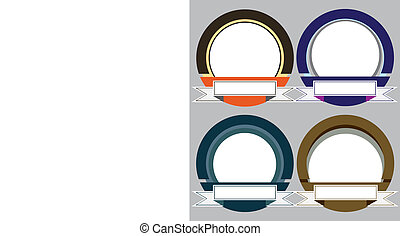 Set of Colorful Modern Emblem Frame