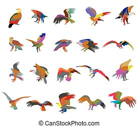 Set of colorful mosaic vector american eagle silhouettes