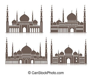Set of Mosque or Masjid Elements Isolated for Islamic Celebrations, Ramadan Kareem and Eid Mubarak Background. Editable Vector Illustration.
