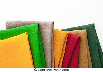 Set of colorful napkins on the white background