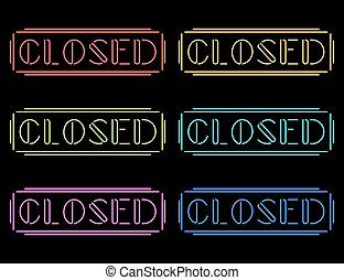 Set of colorful neon Closed signs