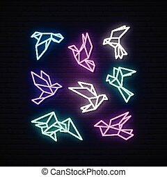 Set of colorful neon geometric dove.