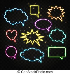Set of colorful neon speech bubbles with space for text