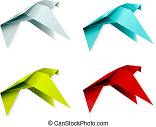 Set of colorful origami bird. EPS 10