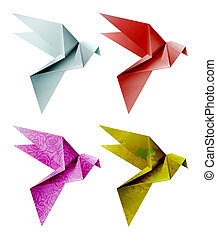 Set of colorful origami bird. EPS 10