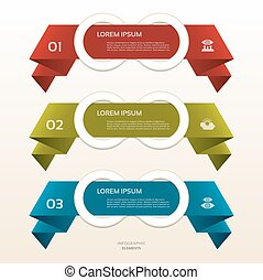 Set of colorful origami labels for your text. Vector design elements.