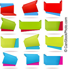 Set of colorful origami paper banners. Vector illustration