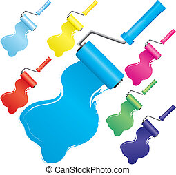 Set of colorful paint roller brushes, part 2, vector illustration. Includes colors:blue, light blue, navy, yellow, red, pink, green.