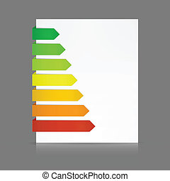 7 Colorful paper stripes of various lengths folded around a white sheet from dark green to red as e.g. in energy consumption levels or anything else according to your text. Transparent shadows so color can be changed easily. EPS10
