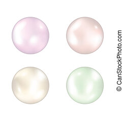 Set of colorful pearls isolated on white background