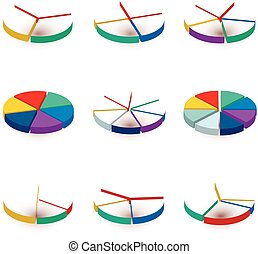 Set of colorful pie diagrams on white