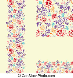 Set of colorful plants seamless pattern and borders backgrounds
