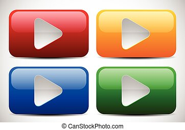 Set of Colorful Play Buttons Set of Colorful Play Buttons -...