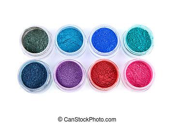 Set of colorful powder eye shadows