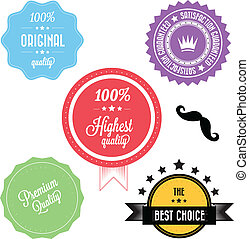 Set of Colorful Premium Vintage Retro Labels vector
