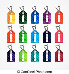 Set of colorful price tags for market commercial design template
