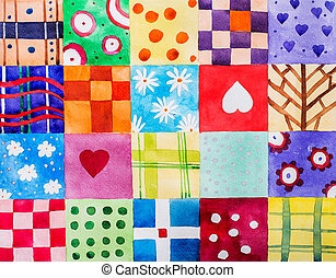 set of colorful prints patterns watercolor drawing