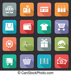 Set of colorful purchase icons in flat style on web buttons showing a store till bankcard tags bag wallet fashion trolley scissors gift call centre delivery basket bar code and dollars