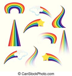 Set of colorful rainbows. Vector illustration