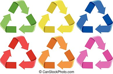 Set of colorful recycle icons