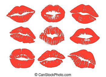 Set of colorful red female lip prints