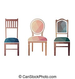 Set of colorful retro chairs.
