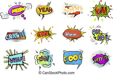 Set of colorful retro comic speech bubble